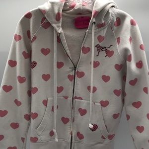 PINK white hoodie w hearts L, full zipper